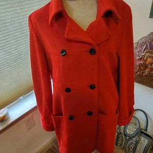Vintage Fire engine red cashmere coat
